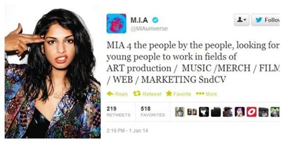 M.I.A. Is Currently Accepting Resumes