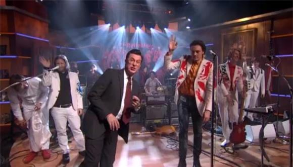 Colbert Gets A Reflektor Mask and Arcade Fire Performs Two Songs