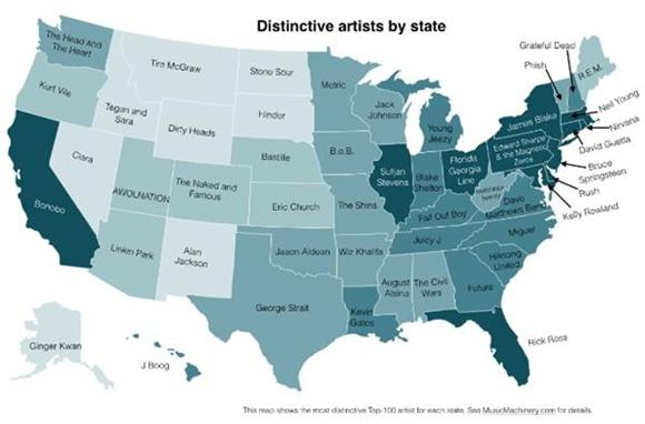 Find Your State's Favorite Band