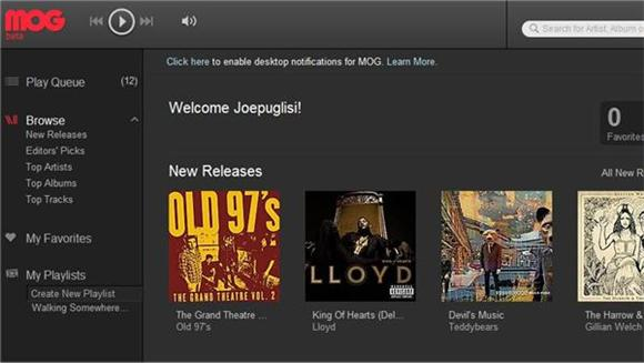 New and Improved: MOG Music Player