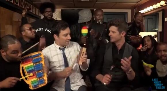 Robin Thicke Strips Down 'Blurred Lines' with Fallon and The Roots