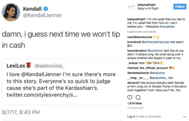 kendall jenner baby's all right tip
