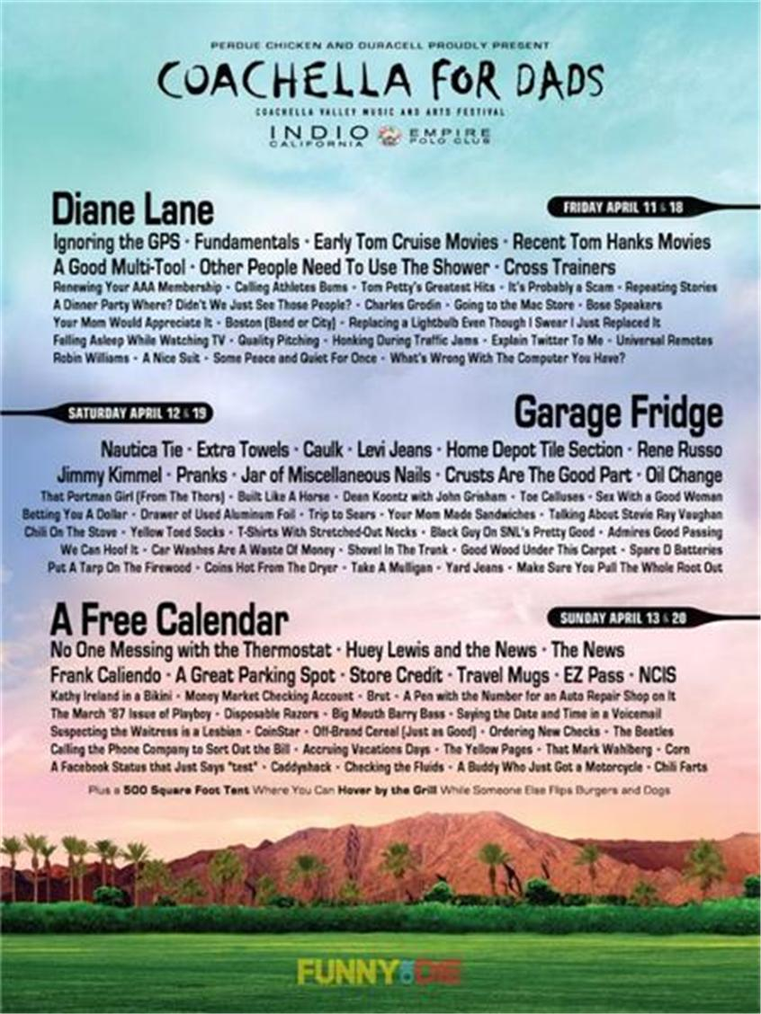 Coachella For Dads' Lineup Is Built Like a Horse