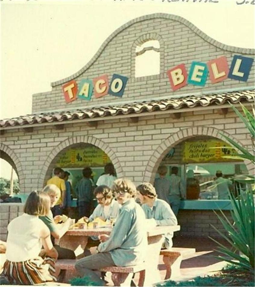 Just a Photo of Creedence Clearwater Revival Eating Taco Bell in 1968