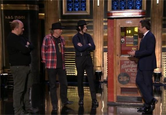 Neil Young and Jack White Demo Voice-o-Gram on Fallon