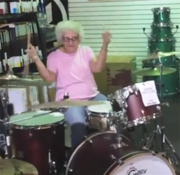 Old Lady Kills It On the Drums